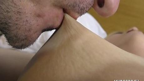 Sucking and lick nipples Aqua Pola from soft to make him hard