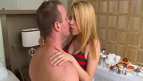 Petite Blonde suck and fuck big cock
