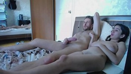 Bored horny girl with large tits and shaved pussy jerking off boyfriend big penis