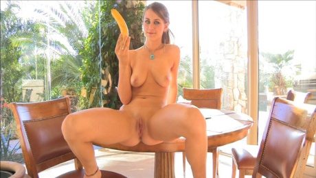 Only a thick banana can fit in her wet twat today