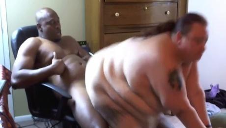 Huge fat white chick rides a big black cock