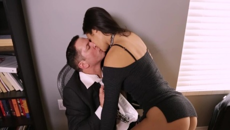 A brunette with small tits is getting licked and fucked too