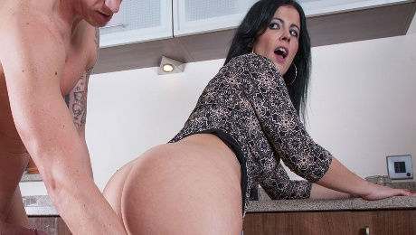 Naughty busty milf enjoying hard fuck in the kitchen